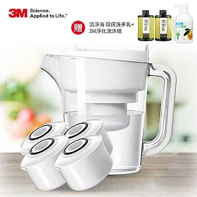 [送洗手乳+洗沐組] 3M 經典款即淨長效濾水壺WP3000(1壺+4濾心)(快)