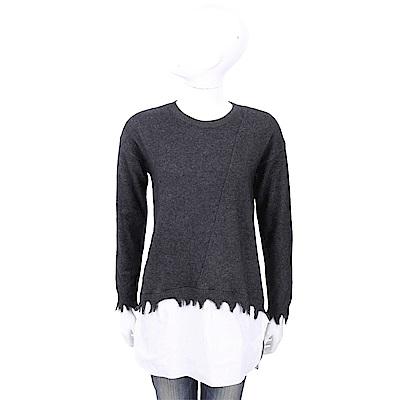 1436 x UMA WANG 100%羊絨 破邊拼接設計灰色針織羊毛衫