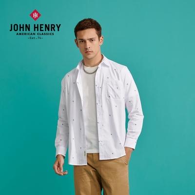 【JOHN HENRY】椰子樹印花長袖襯衫