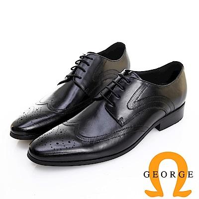 GEORGE 喬治皮鞋 職人系列 漸層刷色翼紋雕花牛津鞋 -黑