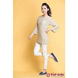 【TOP GIRL】特殊網狀條紋長版針織杉-淺米白