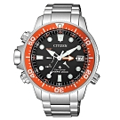 CITIZEN 星辰光動能200米潛水錶BN2039-59E-黑X橘框/46mm