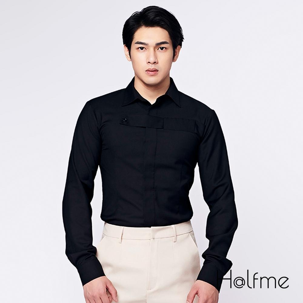 Halfme-前胸壓橫條貼布襯衫-男