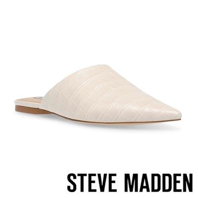 STEVE MADDEN-TIFF 皮紋尖頭平底拖鞋-杏色