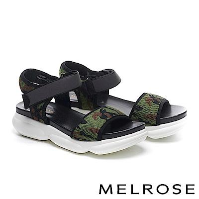 涼鞋 MELROSE 個性潮感一字迷彩網布老爹厚底休閒涼鞋-綠