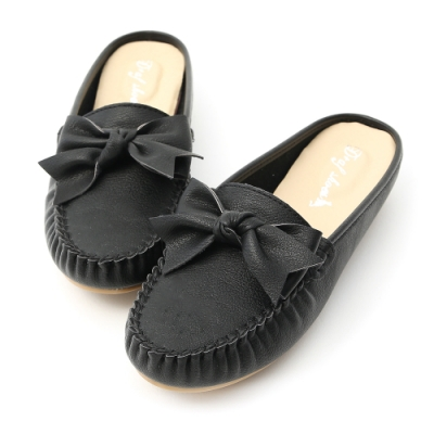 D+AF 甜美日常.MIT蝴蝶結豆豆穆勒鞋*黑