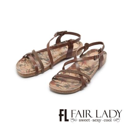 【FAIR LADY】PORRONET簡約不對稱交叉繞帶平底涼鞋 摩卡