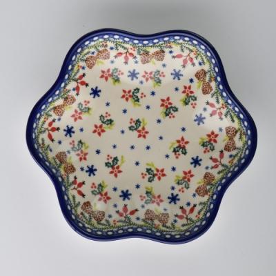 波蘭陶 初春遊樂園系列 花型盤 大 24cm 波蘭手工製