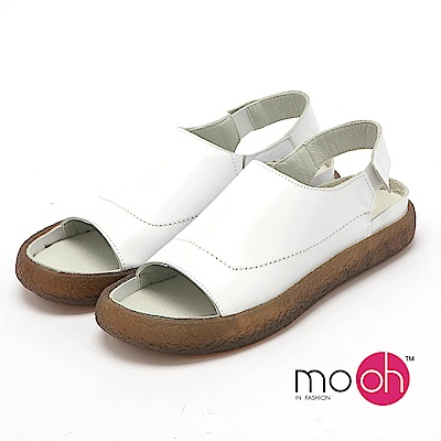 mo.oh - 全真皮-森林系圓頭舒適平底涼鞋-白色