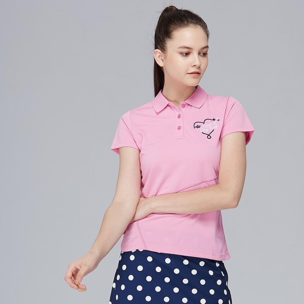 【KING GOLF】愛心刺繡拼接剪裁造型POLO衫-粉色