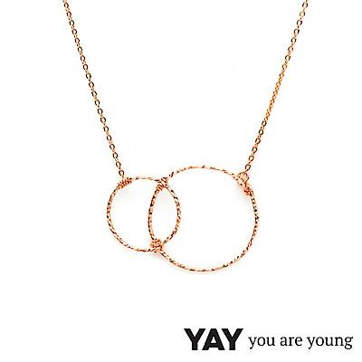 YAY You Are Young Fruits Dor 雅果無限項鍊 玫瑰金髮絲紋