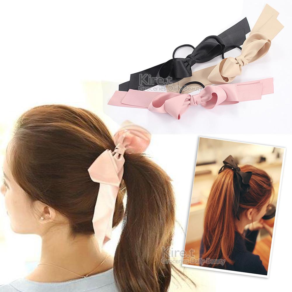 日本kiret 氣質甜美 質感緞帶蝴蝶結 髮圈 超值3入