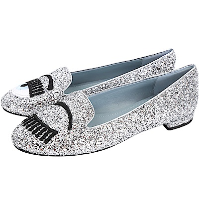 Chiara Ferragni Flirting 刺繡眨眼淺藍鞋底亮片樂福鞋(銀色)
