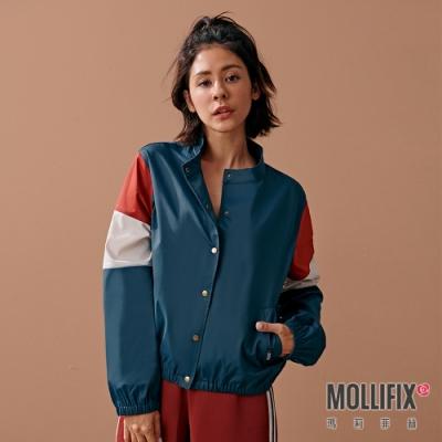 Mollifix 瑪莉菲絲 古著感撞色排釦夾克 (軍綠)