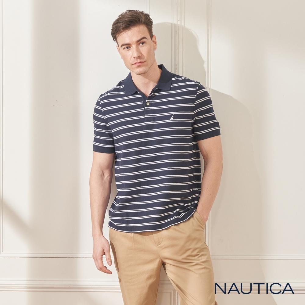 Nautica經典條紋短袖POLO衫-深藍