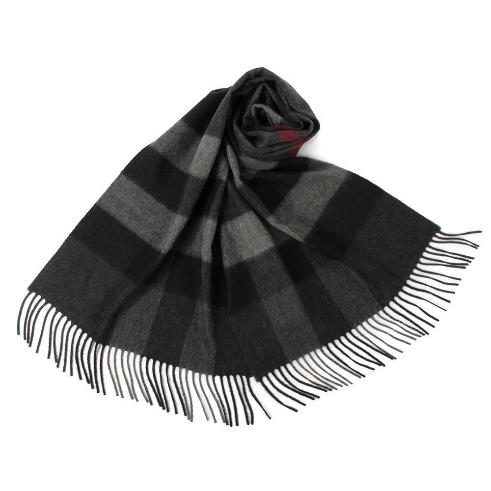 BURBERRY 經典方格紋100%喀什米爾羊毛圍巾(200X36cm)-大/炭灰色