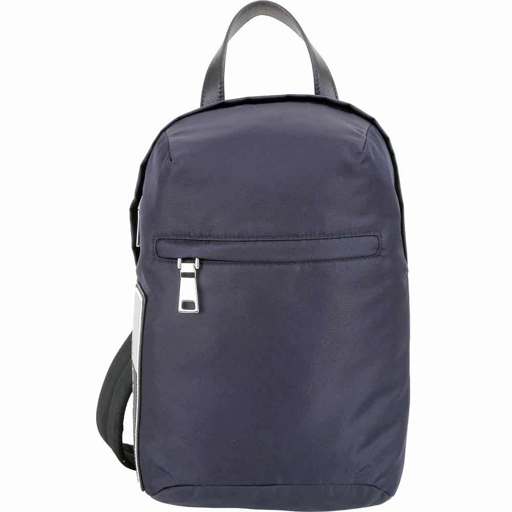 PRADA 新款橡膠標籤尼龍手提單肩胸背包(深藍色)PRADA