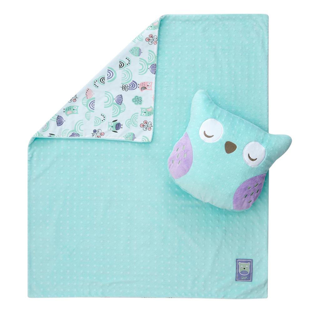 奇哥 PUP 豆趣二合一抱枕毯-粉綠