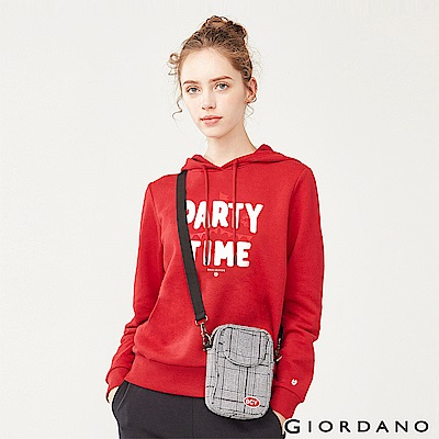 GIORDANO 女裝派對豬系列印花刷毛帽TEE-11 新冠軍紅