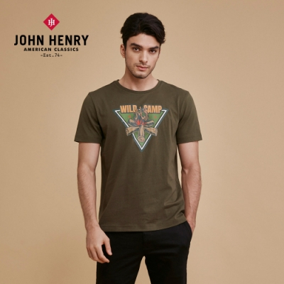 【JOHN HENRY】WILD CAMP三角營火短袖T恤-綠