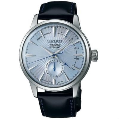SEIKO 精工Presage 調酒師中央動力儲存顯示機械腕錶-藍(SSA346J1)