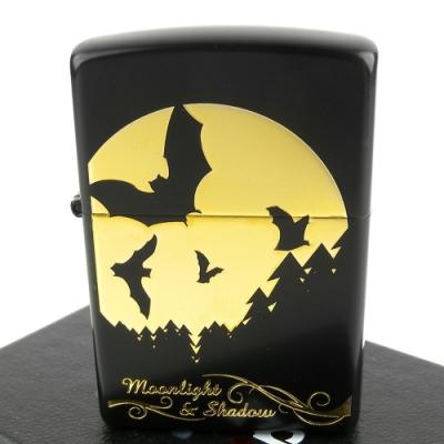 ZIPPO 日系~月之影系列-蝙蝠蝕刻金色圖案打火機