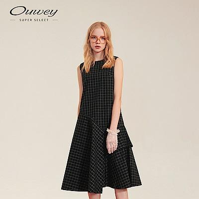 OUWEY歐薇 荷葉裙擺格紋洋裝(黑)