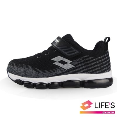 LOTTO 義大利 童 FLY KNIT 氣墊跑鞋 (黑)