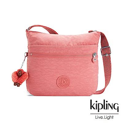 Kipling薔薇粉渲染前拉鍊側背包