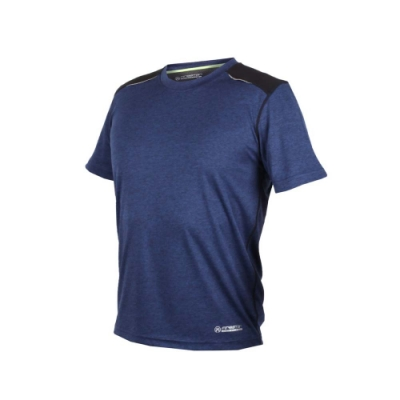 FIRESTAR 男短袖吸排圓領衫-短T T恤 慢跑 路跑 丈青黑