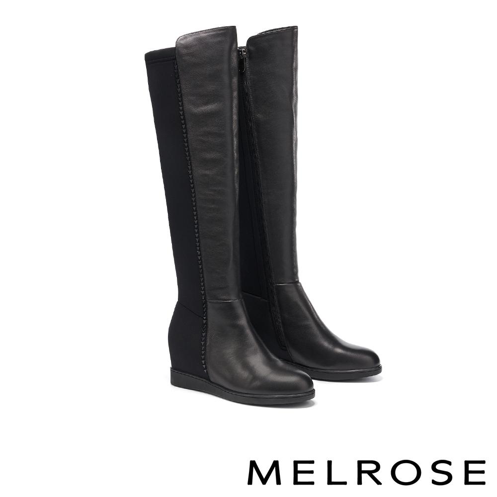 長靴 MELROSE 魅力時髦晶鑽異材質拼接美型內增高長靴-黑