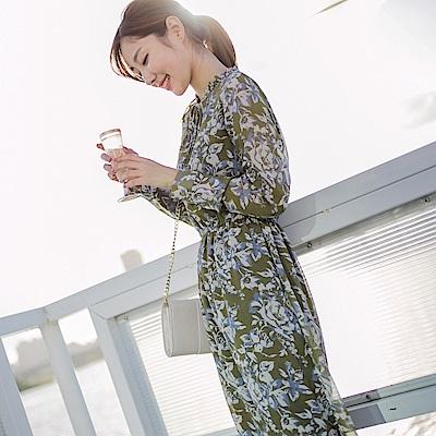 浪漫約會系列~氣質印花領結綁帶長洋裝-OB大尺碼