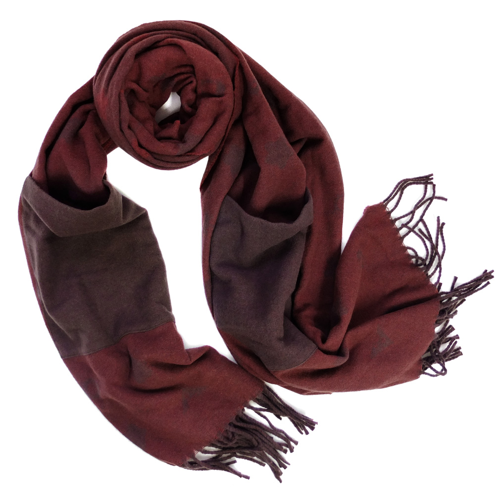 COACH酒紅色羊毛披肩雙口袋套手長圍巾(228x50cm)COACH