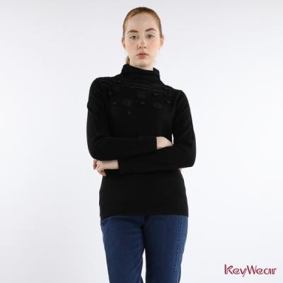 KeyWear奇威名品    唯美性感透視立體勾花長袖毛衣-黑色