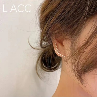 梨花HaNA 韓國珍珠舞鑽石雙層錯覺耳環單只