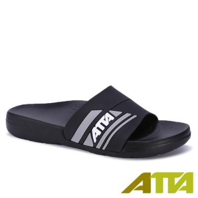 ATTA 運動風圖紋室外拖鞋-黑色