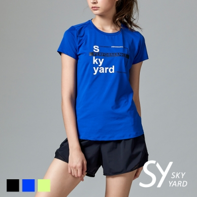 【SKY YARD 天空花園】SKY YARD 拼字印圖設計運動T恤-藍色