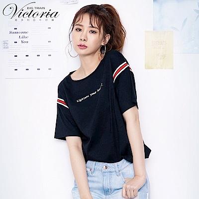 Victoria 撞色織帶前短後長寬鬆短袖T-女-黑色