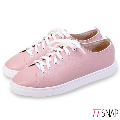 TTSNAP休閒鞋-MIT素面綁帶輕量真皮厚底鞋 粉