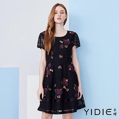 【YIDIE衣蝶】繽紛花朵刺繡蕾絲短洋裝