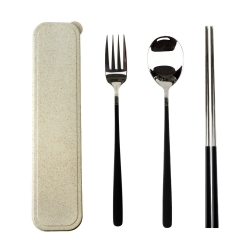 Caldo卡朵生活 質感隨身不鏽鋼環保餐具3件組(附盒)