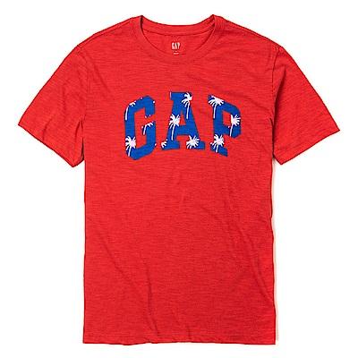 GAP 經典LOGO標誌熱帶風情印刷短袖T恤-紅色
