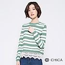 CHICA 法式浪漫拼接蕾絲條紋針織衫(2色)