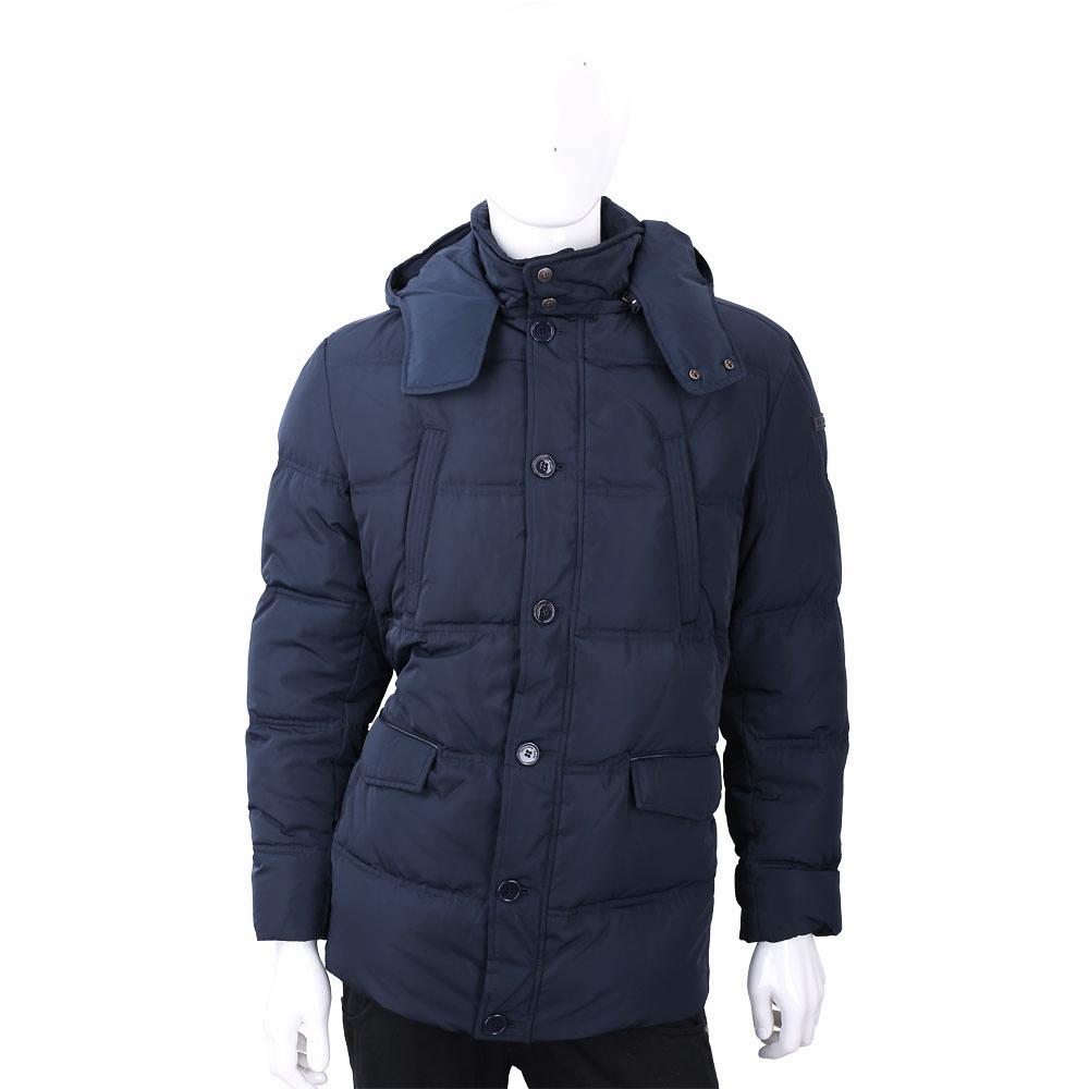 TRUSSARDI 多口袋深藍色絎縫連帽羽絨外套 @ Y!購物