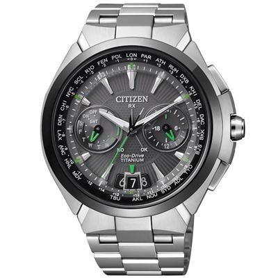CITIZEN GPS 無界天際衛星對時鈦金屬腕錶-黑框銀-45mm