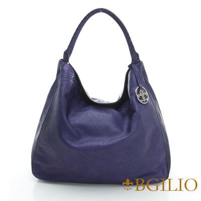 義大利BGilio-義大利水染牛皮大方帥氣肩背包-藍色2046.002-09