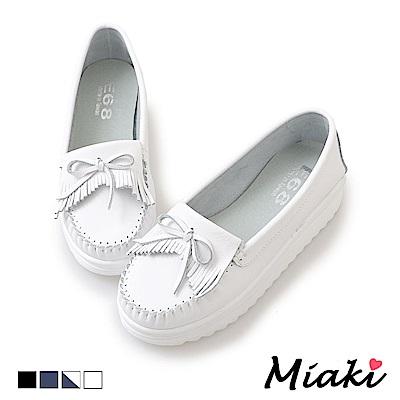 Miaki-休閒鞋通勤經典厚底莫卡辛鞋-白