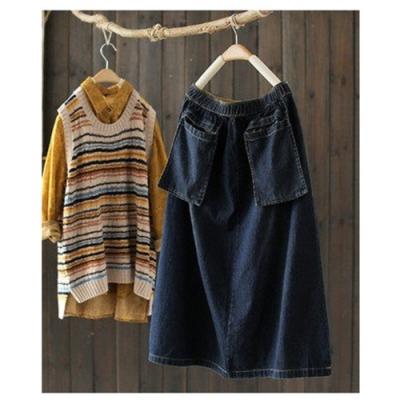 立體大口袋中長版純棉牛仔中長裙寬鬆高腰裙-設計所在