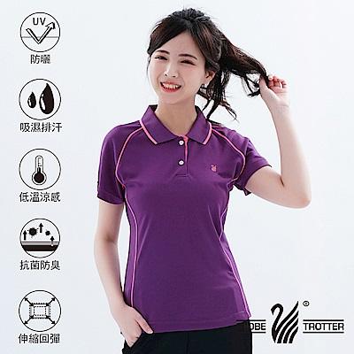 【遊遍天下】MIT台灣製女款吸濕排汗抗UV機能POLO衫S083紫色