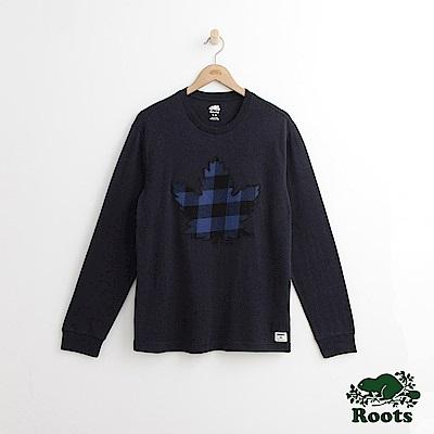 Roots 男裝-格紋楓葉長袖T恤-藍色